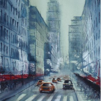 """Painting titled """"yellow cabs in New…"""" by Giorgio Gosti, Original Art, Watercolor"""