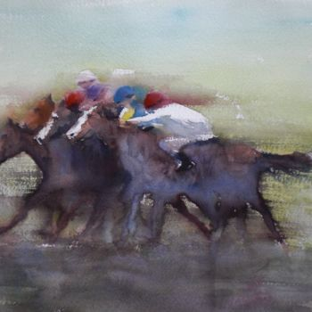 """Painting titled """"the horse race"""" by Giorgio Gosti, Original Art, Watercolor"""