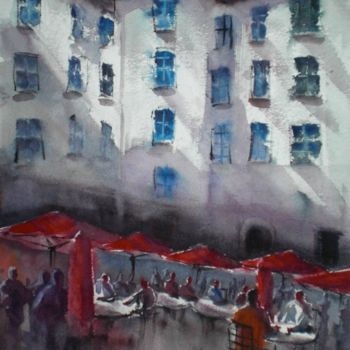 """Painting titled """"red umbrellas"""" by Giorgio Gosti, Original Art, Watercolor"""