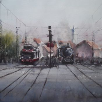 """Painting titled """"Trains"""" by Giorgio Gosti, Original Art, Watercolor"""