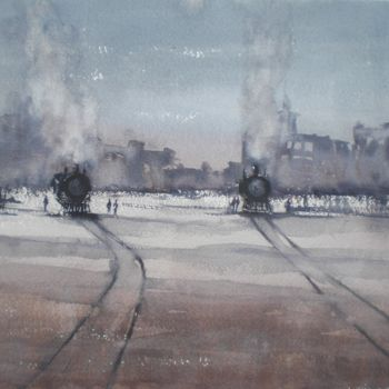 """Painting titled """"trains 2"""" by Giorgio Gosti, Original Art, Watercolor"""