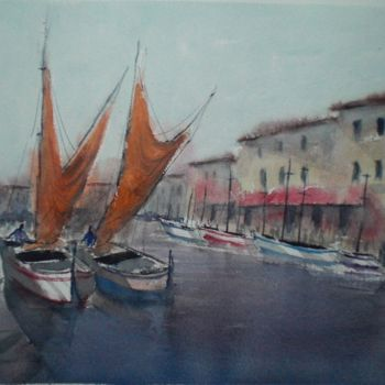 """Painting titled """"boats 12"""" by Giorgio Gosti, Original Art, Watercolor"""