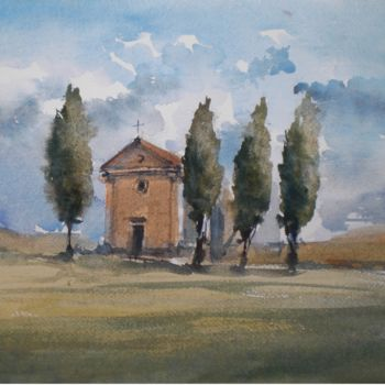 """Painting titled """"Tuscan countryside 1"""" by Giorgio Gosti, Original Art, Watercolor"""