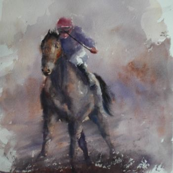 """Painting titled """"the horse race 4"""" by Giorgio Gosti, Original Art, Watercolor"""