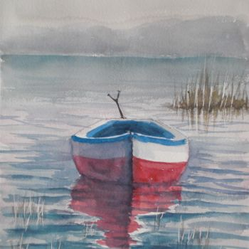 """Painting titled """"boat in a quiet lake"""" by Giorgio Gosti, Original Art, Watercolor"""