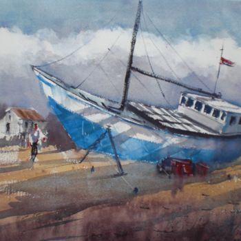 """Painting titled """"boat stranded 2"""" by Giorgio Gosti, Original Art, Watercolor"""
