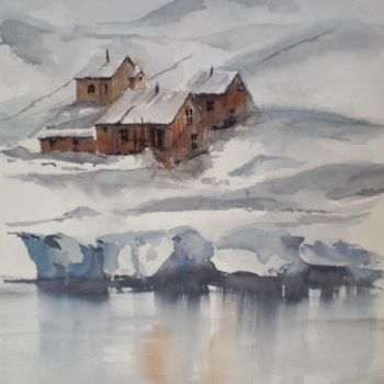 """Painting titled """"in the snow"""" by Giorgio Gosti, Original Art, Watercolor"""