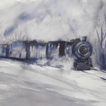 """Painting titled """"Train in the snow"""" by Giorgio Gosti, Original Art, Watercolor"""