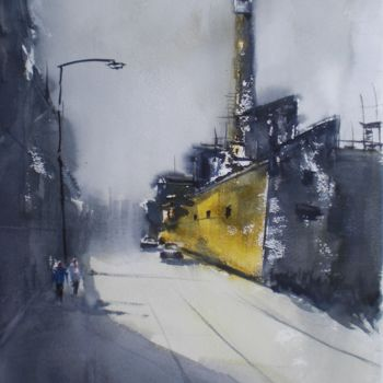 """Painting titled """"industrial landscape"""" by Giorgio Gosti, Original Art, Watercolor"""