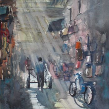"""Painting titled """"Marrakech' souk 2"""" by Giorgio Gosti, Original Art, Watercolor"""