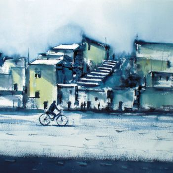 """Painting titled """"the bike 3"""" by Giorgio Gosti, Original Art, Watercolor"""
