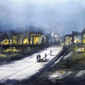 """Painting titled """"an imaginary city 14"""" by Giorgio Gosti, Original Art, Watercolor"""