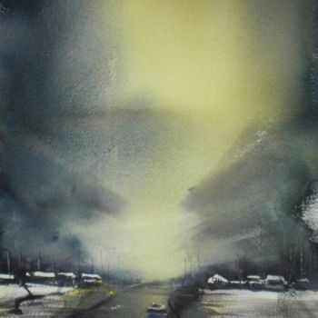 """Painting titled """"solitary car"""" by Giorgio Gosti, Original Art, Watercolor"""