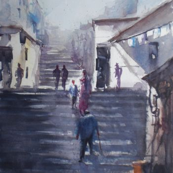 """Painting titled """"stairs 2"""" by Giorgio Gosti, Original Art, Watercolor"""