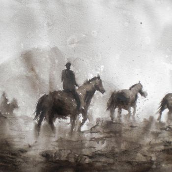 """Painting titled """"horses 6"""" by Giorgio Gosti, Original Art, Watercolor"""
