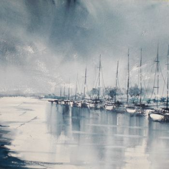 """Painting titled """"boats 23"""" by Giorgio Gosti, Original Art, Watercolor"""