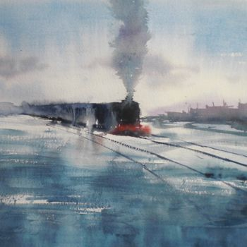 """Painting titled """"trains 14"""" by Giorgio Gosti, Original Art, Watercolor"""