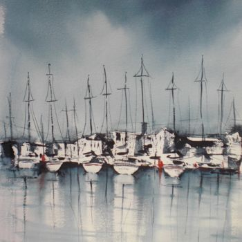 """Painting titled """"boats 28"""" by Giorgio Gosti, Original Art, Watercolor"""