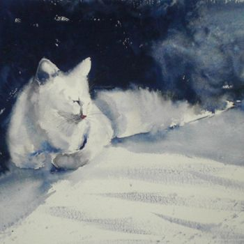 Cat Painting, watercolor, impressionism, artwork by Giorgio Gosti