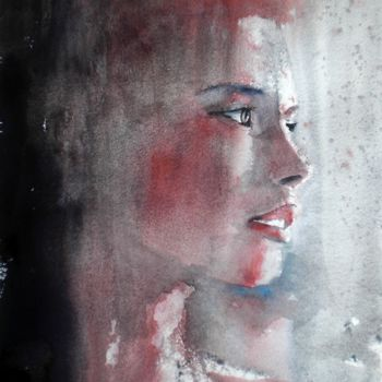 """Painting titled """"young girl 9"""" by Giorgio Gosti, Original Art, Watercolor"""