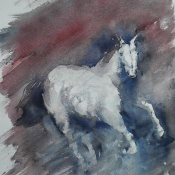 Horse Painting, watercolor, impressionism, artwork by Giorgio Gosti