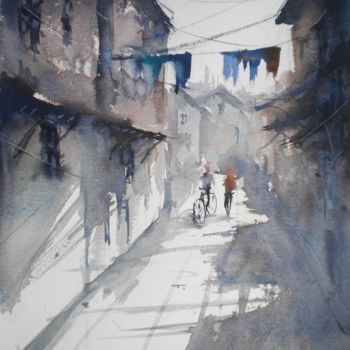 """Painting titled """"an imaginary city 30"""" by Giorgio Gosti, Original Art, Watercolor"""