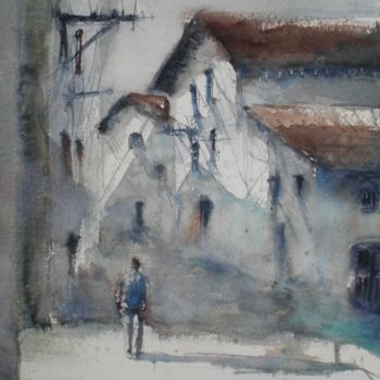 """Painting titled """"walking in the vill…"""" by Giorgio Gosti, Original Art, Watercolor"""