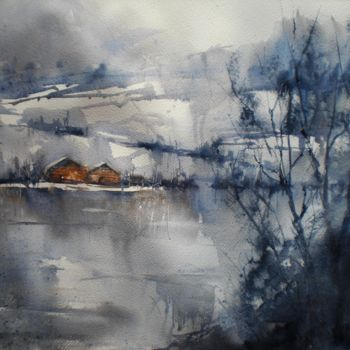 """Painting titled """"on the shores of th…"""" by Giorgio Gosti, Original Art, Watercolor"""