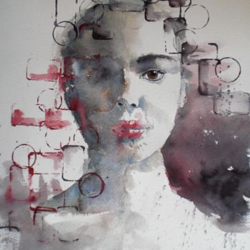 """Painting titled """"young girl 13"""" by Giorgio Gosti, Original Art, Watercolor"""