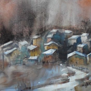 """Painting titled """"an imaginary villag…"""" by Giorgio Gosti, Original Art, Watercolor"""