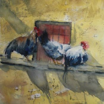 """Painting titled """"rooster and hens 2…"""" by Giorgio Gosti, Original Art, Watercolor"""