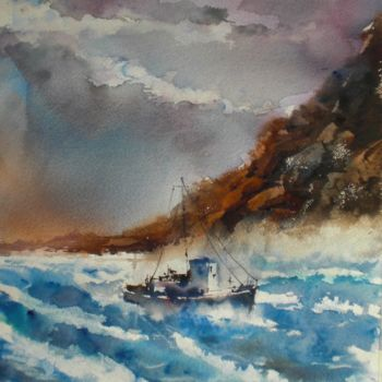 """Painting titled """"boats 40 #ArtistSup…"""" by Giorgio Gosti, Original Art, Watercolor"""