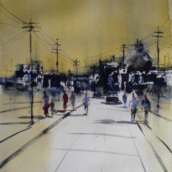 """Painting titled """"an imaginary city 3…"""" by Giorgio Gosti, Original Art, Watercolor"""