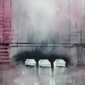 """Painting titled """"cars in the night 5"""" by Giorgio Gosti, Original Art, Watercolor"""
