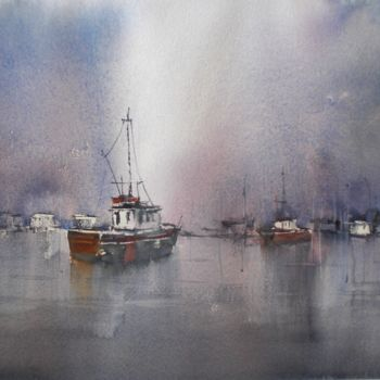 """Painting titled """"boats 46 #ArtistSup…"""" by Giorgio Gosti, Original Art, Watercolor"""