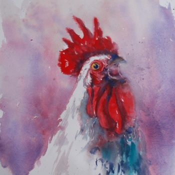 """Painting titled """"rooster 9"""" by Giorgio Gosti, Original Art, Watercolor"""