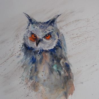"""Painting titled """"owl"""" by Giorgio Gosti, Original Art, Watercolor"""