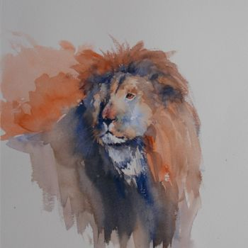 """Painting titled """"lion #artistsupport…"""" by Giorgio Gosti, Original Art, Watercolor"""