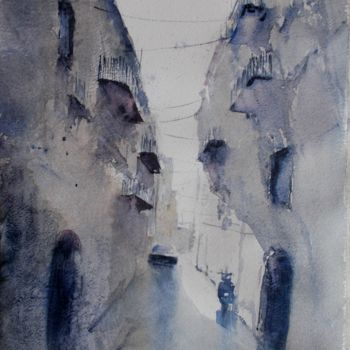 """Painting titled """"an imaginary city 37"""" by Giorgio Gosti, Original Art, Watercolor"""