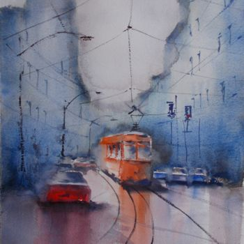 """Painting titled """"an imaginary city 38"""" by Giorgio Gosti, Original Art, Watercolor"""
