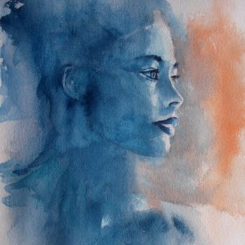 """Painting titled """"young girl 18"""" by Giorgio Gosti, Original Art, Watercolor"""