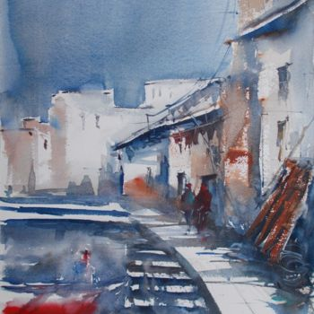 """Painting titled """"fishing village 2"""" by Giorgio Gosti, Original Art, Watercolor"""