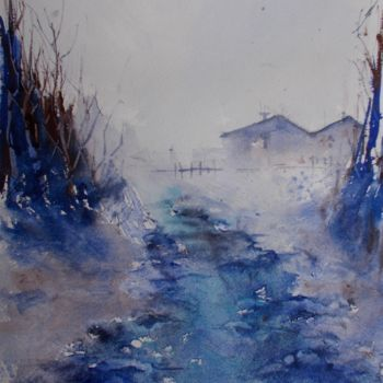 """Painting titled """"stream in the wood"""" by Giorgio Gosti, Original Art, Watercolor"""