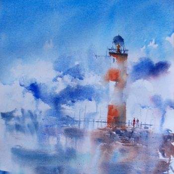 """Painting titled """"lighthouse 15"""" by Giorgio Gosti, Original Art, Watercolor"""
