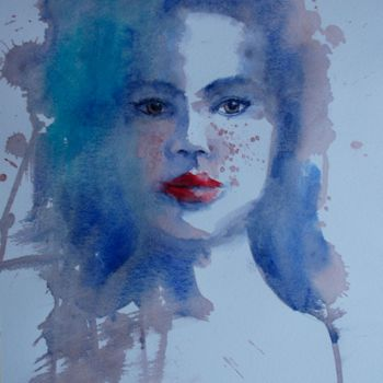 """Painting titled """"young girl 22"""" by Giorgio Gosti, Original Art, Watercolor"""