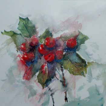 """Painting titled """"holly berries"""" by Giorgio Gosti, Original Art, Watercolor"""