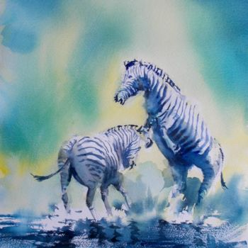 """Painting titled """"zebras 2"""" by Giorgio Gosti, Original Art, Watercolor"""