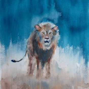 """Painting titled """"lion 2"""" by Giorgio Gosti, Original Art, Watercolor"""