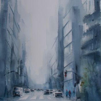 """Painting titled """"an imaginary city 45"""" by Giorgio Gosti, Original Art, Watercolor"""