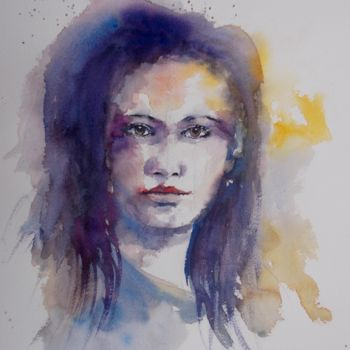 """Painting titled """"young girl 23"""" by Giorgio Gosti, Original Art, Watercolor"""
